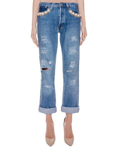 джинсы из плотного денима, декорированы крупными бусинами и цепью артикул FCFW1681 марки Forte Couture купить за 26400 руб.