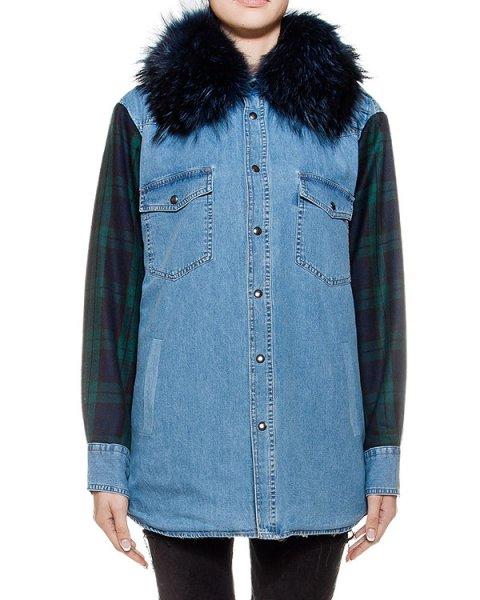 куртка из плотного денима с отделкой из натурального меха артикул FCFW1687 марки Forte Couture купить за 24200 руб.