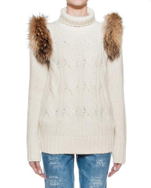 свитер из мягкой шерсти дополнен съемными деталями из меха  артикул FCFW1688 марки Forte Couture купить за 24700 руб.