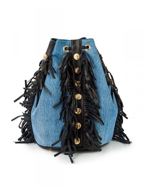 рюкзак из плотного денима, декорирован кожаной бахромой и металлической фурнитурой артикул FCSS1602BAG марки Forte Couture купить за 27300 руб.