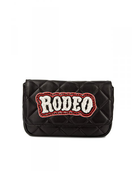 сумка из натуральной стеганой кожи на цепочке, декорирована расшитой бисером аппликацией артикул FCSS1611BAG марки Forte Couture купить за 24100 руб.