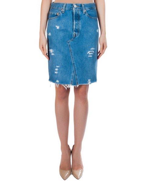 юбка из плотного потертого денима с необработанными краями артикул FCSS1634 марки Forte Couture купить за 10700 руб.