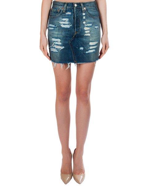 юбка из плотного потертого денима с необработанными краями артикул FCSS1635 марки Forte Couture купить за 10700 руб.