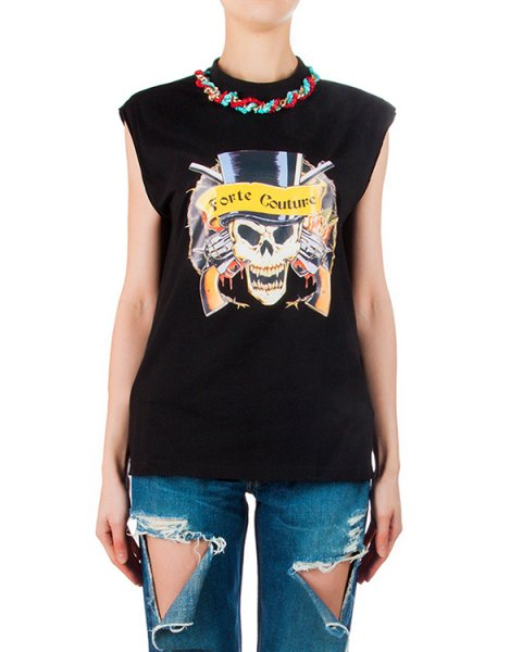 футболка из хлопка с ярким принтом, декорирована бусами из камней и цепочки артикул FCSS1665 марки Forte Couture купить за 11800 руб.