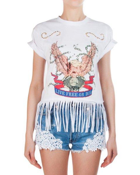 футболка из мягкого хлопка с бахромой, декорирована принтом и клепками артикул FCSS1671 марки Forte Couture купить за 8500 руб.