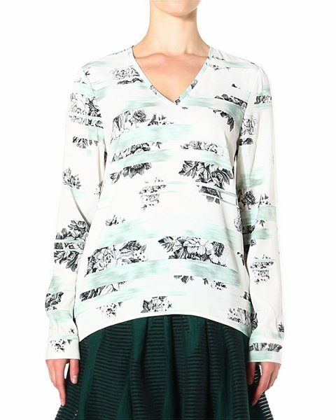 блуза свободного прямого кроя с удлиненной линией спины артикул FLE72343 марки TIBI купить за 11800 руб.