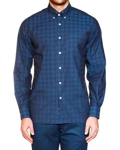 рубашка классического кроя из мягкого хлопка с узором артикул FW15M022 марки Maison Kitsune купить за 7300 руб.