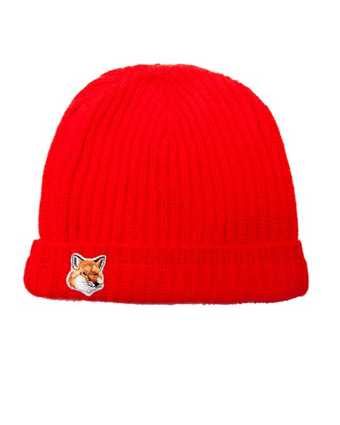 шапка из мягкой шерсти ягнёнка с логотипом бренда артикул FW15U820 марки Maison Kitsune купить за 2200 руб.