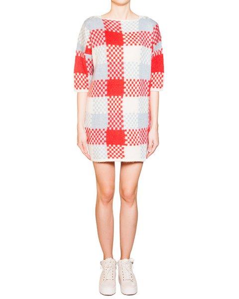 платье свободного кроя из мягкого мохера и шерсти в клетку артикул FW15W633 марки Maison Kitsune купить за 21200 руб.