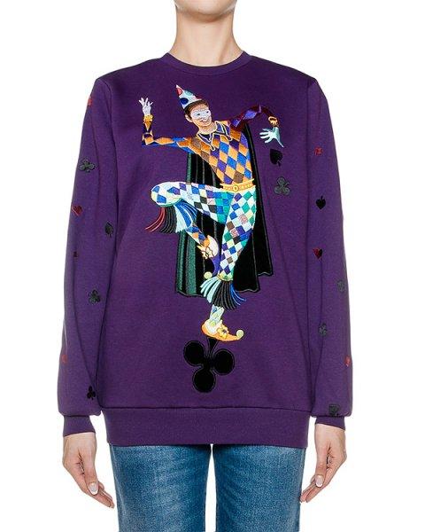 свитшот из хлопкового трикотажа, украшен вышивкой артикул FW17274harlequin марки KATЯ DOBRЯKOVA купить за 17000 руб.