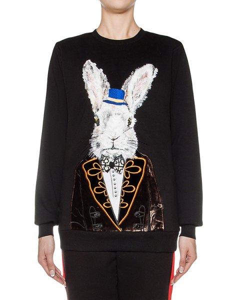 свитшот из хлопкового трикотажа, украшен вышивкой артикул FW17274rabbit марки KATЯ DOBRЯKOVA купить за 12800 руб.