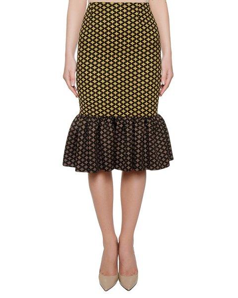 юбка из плотной ткани с узором, дополнена оборкой артикул FW17634grafic марки KATЯ DOBRЯKOVA купить за 6400 руб.
