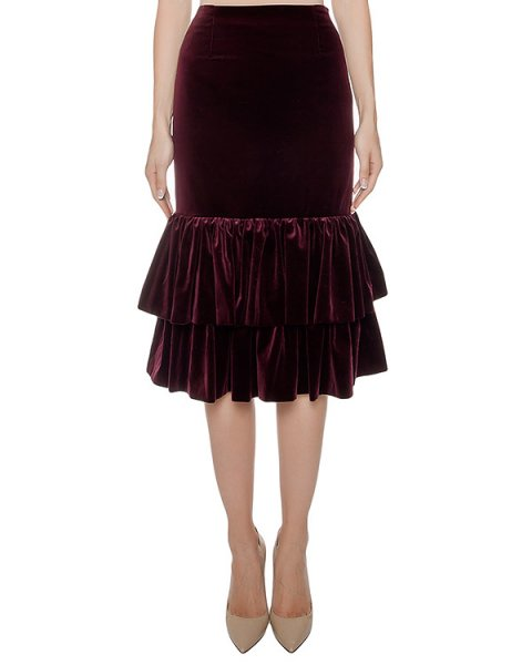юбка из бархата с оборками артикул FW17664 марки KATЯ DOBRЯKOVA купить за 12900 руб.
