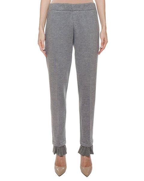 брюки из хлопкового трикотажа, дополнены оборками артикул FW17724wrushi марки KATЯ DOBRЯKOVA купить за 8300 руб.