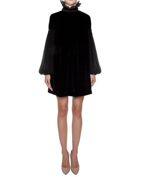 платье из бархата с объемными шелковыми рукавами, дополнено кружевным воротником артикул GF16318F524 марки GRINKO купить за 39600 руб.