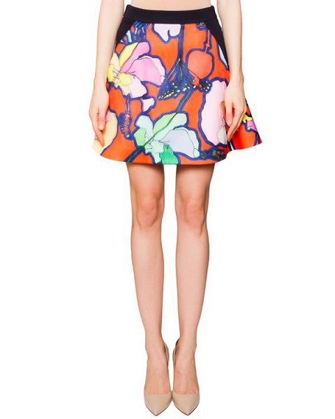 юбка из хлопка с верхним слоем из полупрозрачной ткани, создающей эффект 3D рисунка артикул GL2002L04 марки Giles купить за 11500 руб.