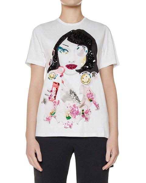 футболка из хлопкового трикотажа с принтом украшена пайтеками артикул GUB110563 марки P.A.R.O.S.H. купить за 10800 руб.