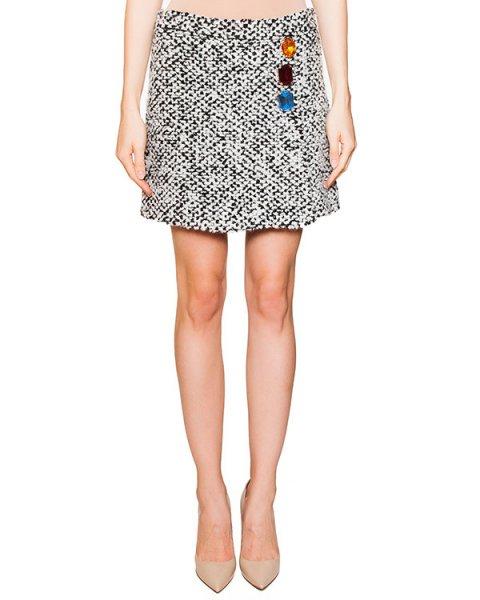 юбка твидовая с запахом, декорирована крупными цветными кристаллами артикул HA0115MB марки Moschino Boutique купить за 16100 руб.