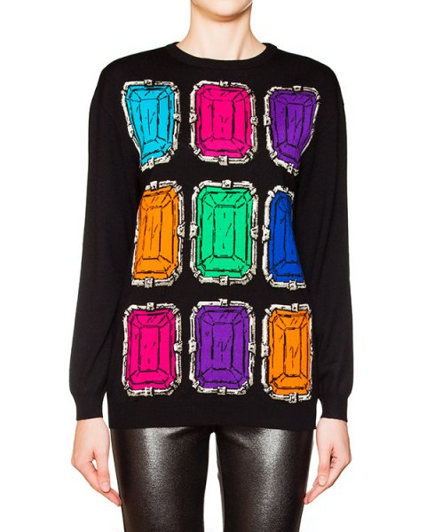 джемпер из мягкой шерсти с рисунком в виде цветных кристаллов артикул HA0909MB марки Moschino Boutique купить за 20600 руб.