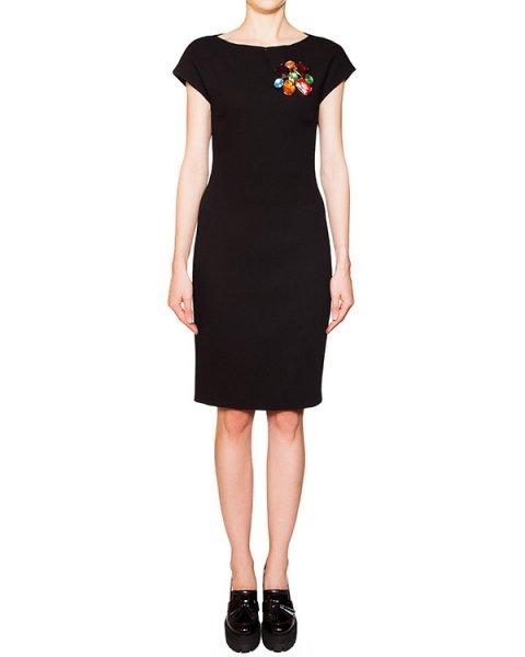 платье приталенного кроя из шерсти, декорировано крупными кристаллами артикул HJ0456 марки Moschino Boutique купить за 26400 руб.
