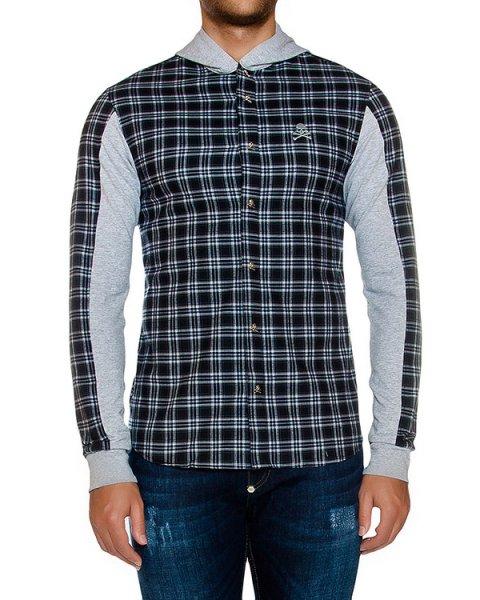 рубашка в клетку с контрастными трикотажными вставками и капюшоном артикул HM314023 марки PHILIPP PLEIN купить за 41200 руб.