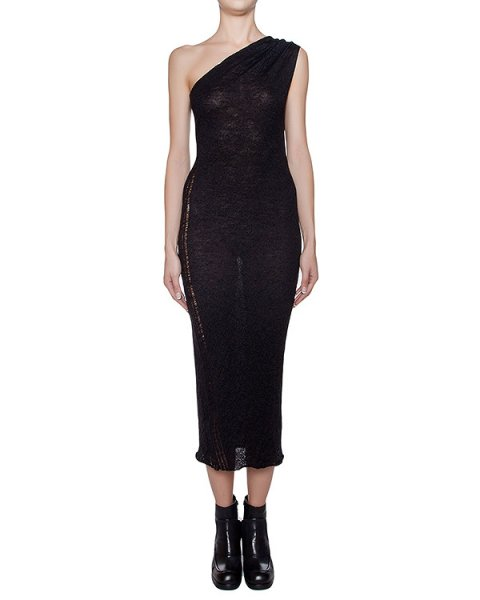 платье на одно плечо из тонкой шерсти, сбоку декорировано спущенными петлями  артикул I16I20396 марки MALLONI купить за 8400 руб.