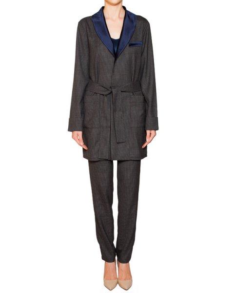 костюм из шерсти с контрастной отделкой; жакет с поясом+брюки прямого кроя артикул IZ2015CL03 марки IZBA rouge купить за 50600 руб.