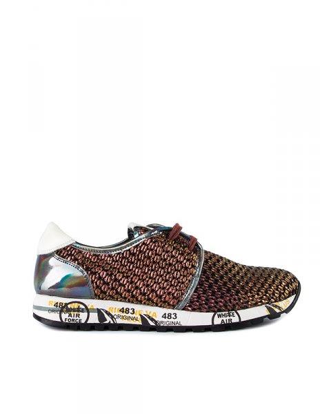 кроссовки из натуральной плетеной кожи металлического цвета артикул JACKIEB марки Premiata купить за 16400 руб.