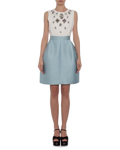 платье с пышной юбкой, из плотного атласа, декорирован бусинами и кристаллами артикул K217 марки Dice Kayek купить за 80900 руб.