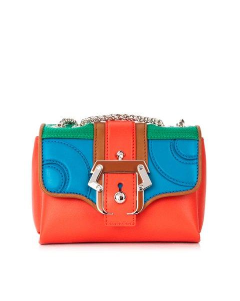 сумка из кожи теленка с яркими панелями и металлической фурнитурой артикул KATE марки Paula Cademartori купить за 79800 руб.
