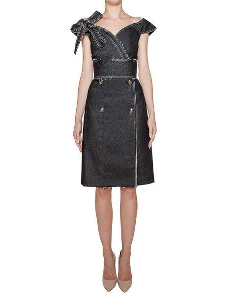 платье из плотного денима с необработанными краями артикул KFW1620 марки Kalmanovich купить за 43200 руб.