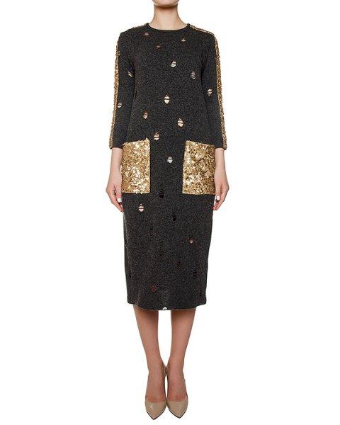 платье из мягкой шерсти; накладные карманы расшиты пайтеками артикул KFW1631 марки Kalmanovich купить за 60000 руб.