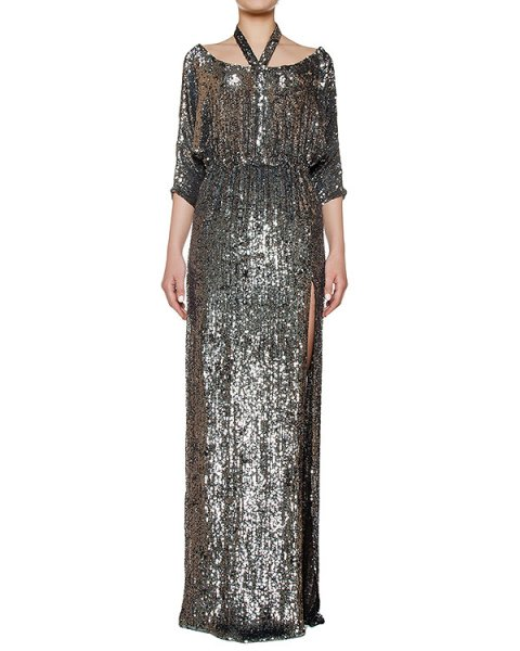 платье в пол, полностью расшитое пайтеками артикул KFW1646 марки Kalmanovich купить за 138000 руб.