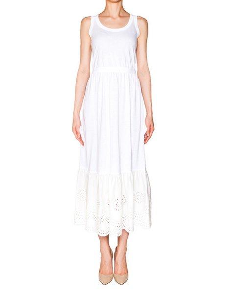 платье из тонкого хлопка, низ декорирован кружевной вставкой; завязывается на пояс артикул KR0MJ02Z2BG марки Valentino Red купить за 22800 руб.