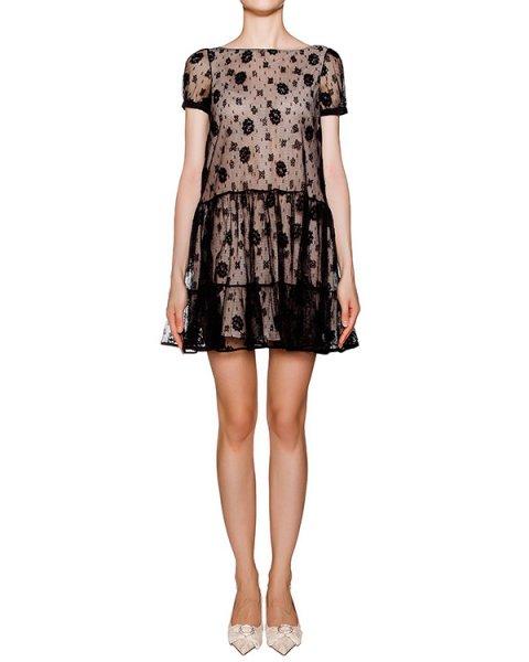 платье с верхом из прозрачного черного кружева  артикул KR0VA2I1 марки Valentino Red купить за 44200 руб.