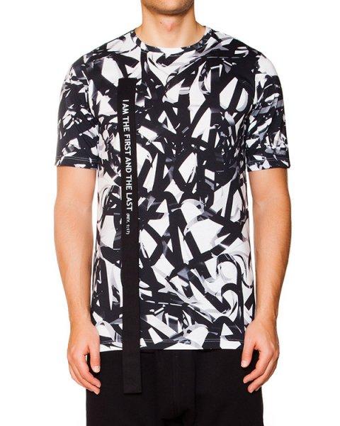 футболка из хлопка с оригинальным принтом, дополнена лентами с библейскими надписями артикул KUT02 марки UEG купить за 5600 руб.