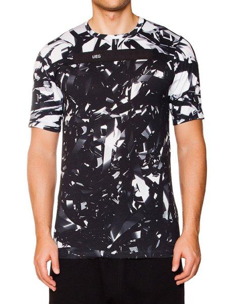 футболка из хлопка с оригинальным монохромным принтом, дополнена лентами с библейскими надписями артикул KUT04 марки UEG купить за 6100 руб.