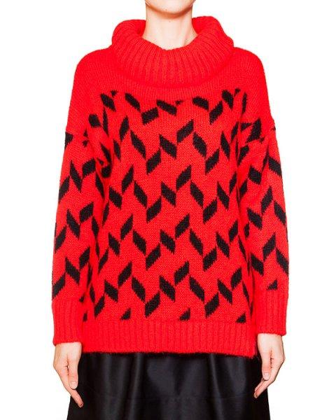 свитер крупной вязки из мягкой пряжи с добавлением мохера, украшен рисунком артикул KYANOFLA марки Essentiel купить за 7500 руб.