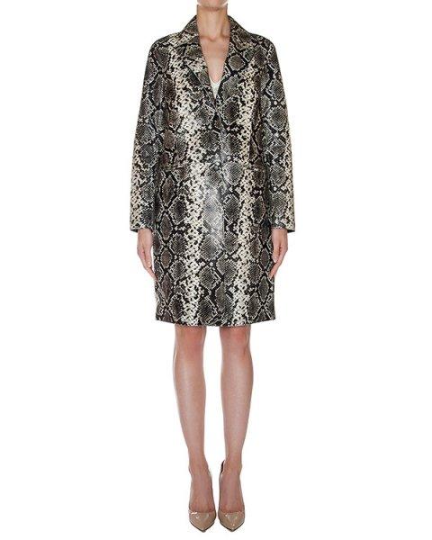 пальто из натуральной кожи с тиснением под кожу рептилии артикул LASSIE марки Essentiel купить за 54800 руб.
