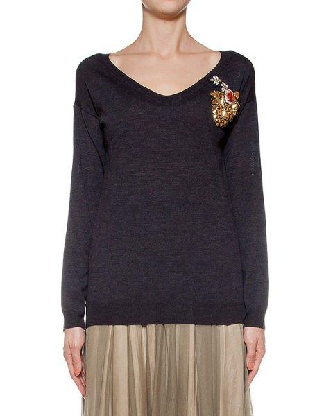 пуловер из мериносовой шерсти, украшен нашивкой артикул LE0505R5 марки L'Edition купить за 21800 руб.