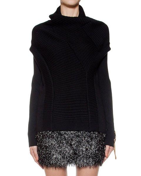 свитер оригинального кроя из мягкойй шерсти, дополнен нашивкой артикул LE0524R10 марки L'Edition купить за 32300 руб.