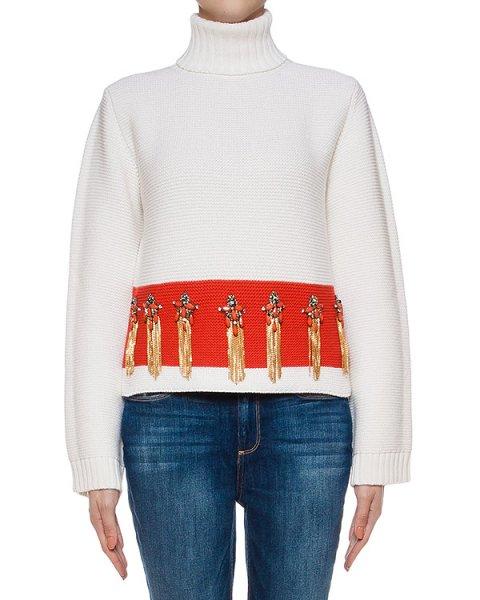 свитер из мериносовой шерсти, дополнен нашивками артикул LE0529R20 марки L'Edition купить за 32800 руб.