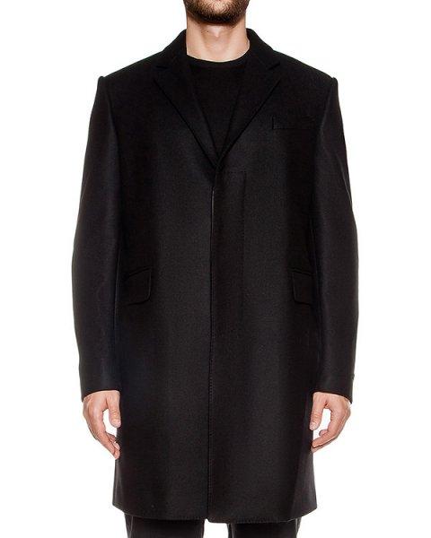 пальто прямого кроя из плотной шерсти, дополнено вставками из натуральной кожи артикул LHB101A марки Les Hommes купить за 114000 руб.