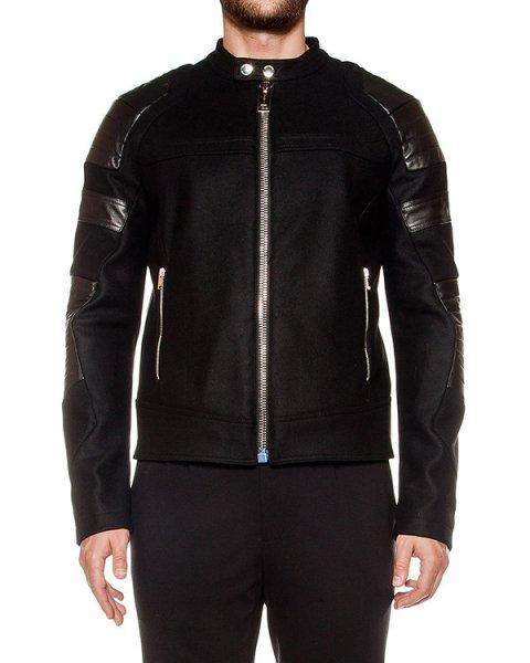 куртка из плотной шерсти, дополнена вставками из натуральной кожи артикул LHB252A марки Les Hommes купить за 105400 руб.