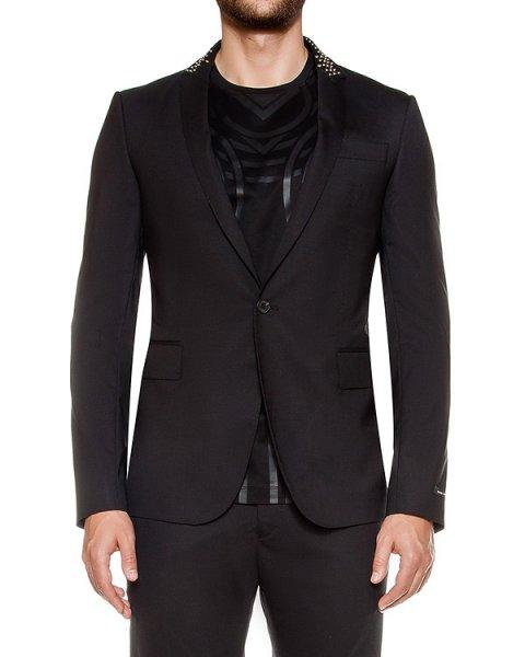 пиджак из шерсти, дополнен кожаным воротником с шипами артикул LHB330W марки Les Hommes купить за 93000 руб.