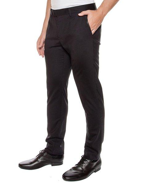 брюки из мягкой шерсти с кожаными вставками артикул LHB401A марки Les Hommes купить за 15000 руб.