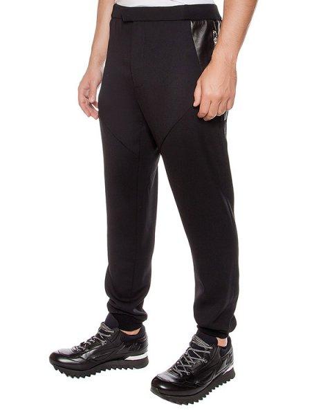 брюки из шерстяного трикотажа с кожаными вставками артикул LHB452A марки Les Hommes купить за 22000 руб.