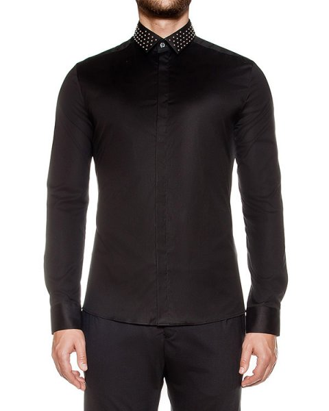 рубашка приталенного кроя из хлопка, декорирована шипами на воротнике артикул LHB601W марки Les Hommes купить за 13500 руб.
