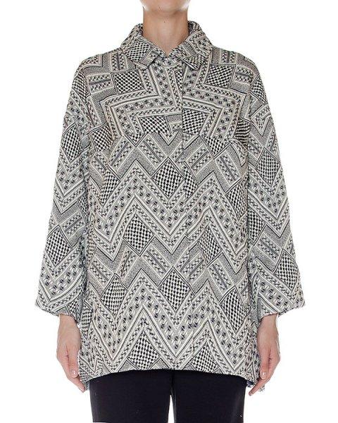 пальто объемное, из плотного фактурного хлопка с узором, дополнено бахромой артикул LOMANE марки Essentiel купить за 23300 руб.