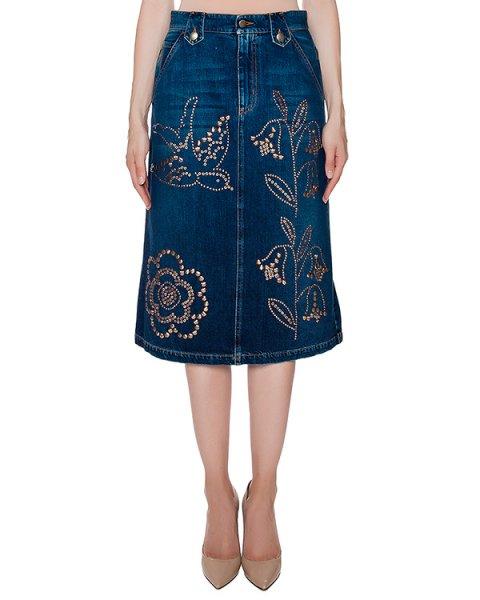 юбка из плотного денима декорирована металлической фурнитурой артикул LR3DD00V марки Valentino Red купить за 46600 руб.